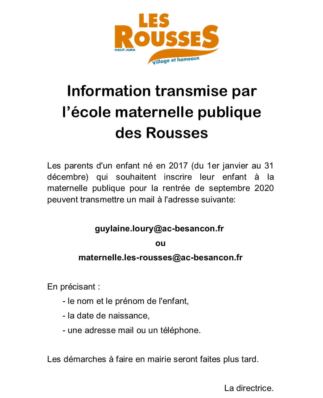 Information Ecole maternelle